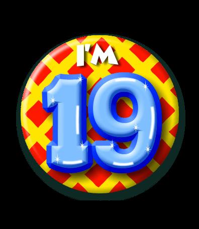 19 jaar 19 Jaar Button   Feesthoek 19 jaar