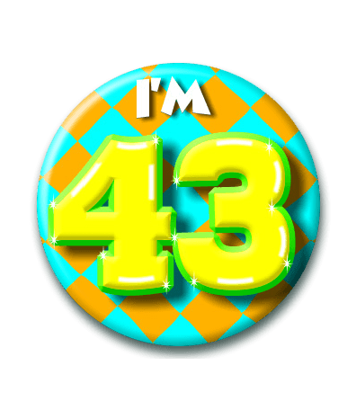 43 jaar 43 Jaar Button   Feesthoek 43 jaar