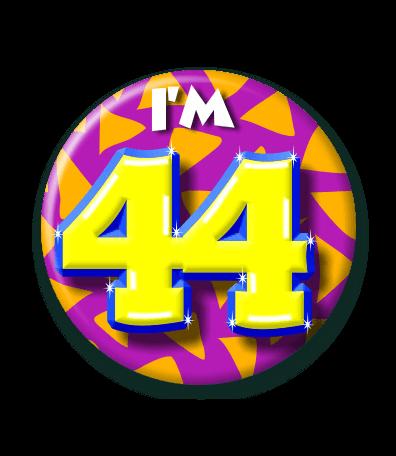 44 jaar 44 Jaar Button   Feesthoek 44 jaar