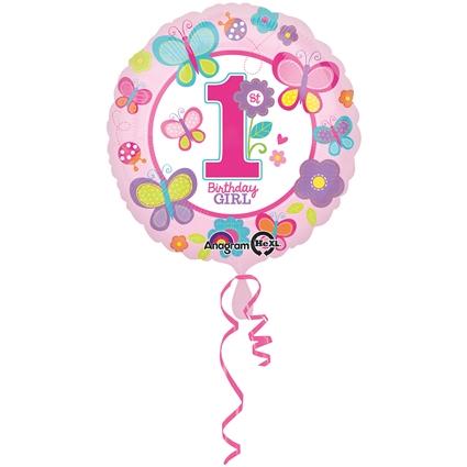 Helium Ballon 1ste Verjaardag Meisje 43cm Feesthoek