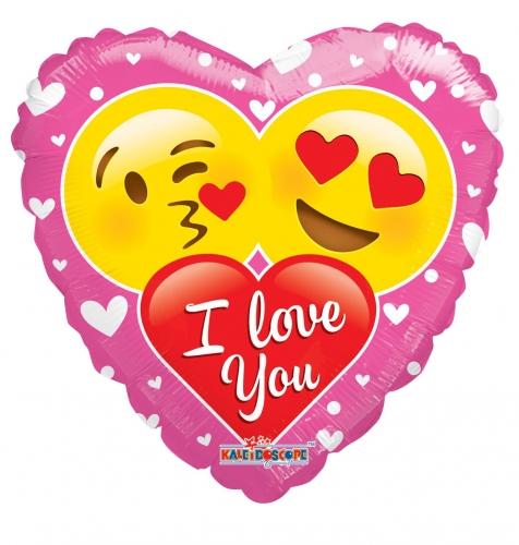 Helium Ballon Emoticon I Love You Hartvorm Feesthoek