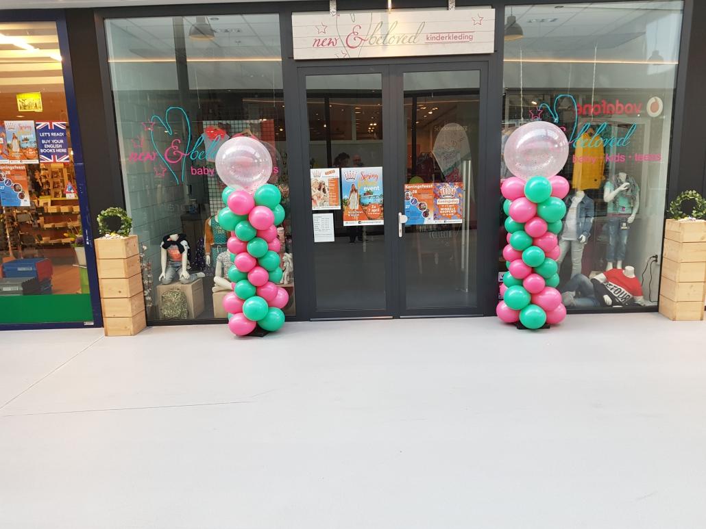 Ballonnenpilaar Fuchsia Jade Groen met Doorzichtige Topballon