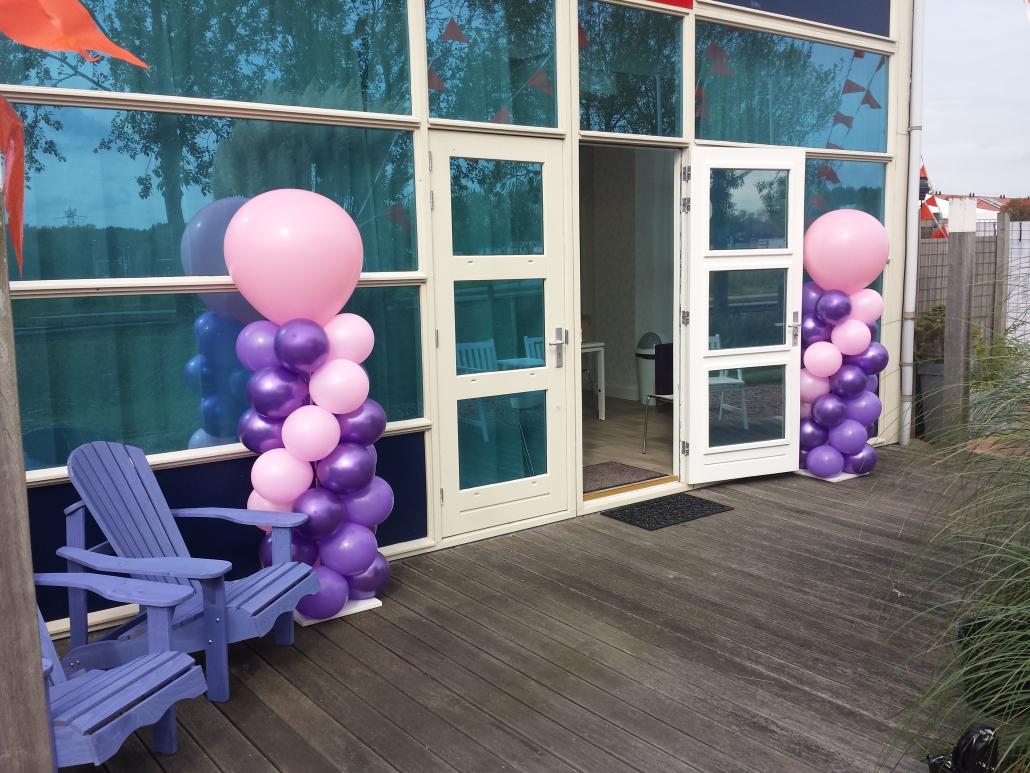 Ballonnenpilaar Paars Lichtroze met Lichtroze Topballon