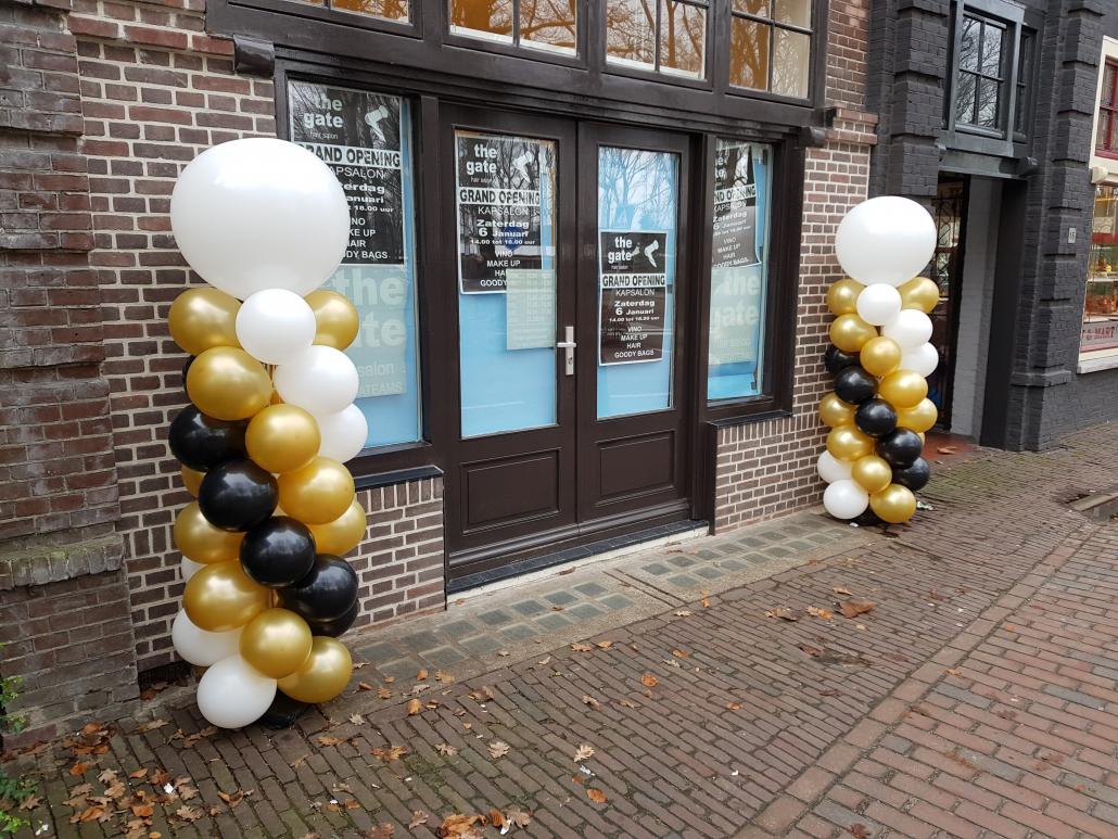 Ballonnenpilaar Wit Goud Zwart met Witte Topballon