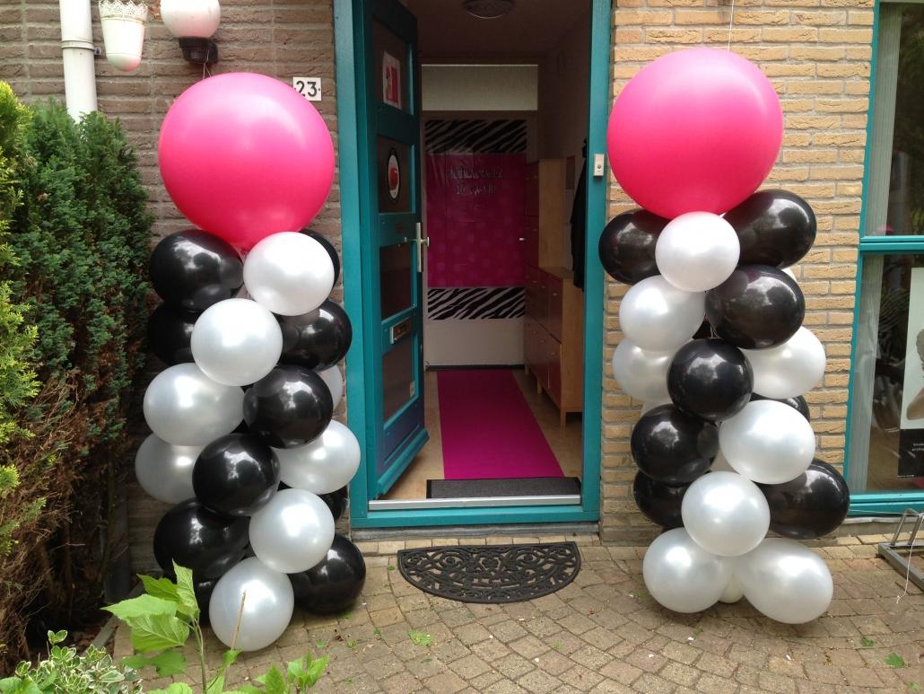 Ballonnenpilaar Wit Zwart