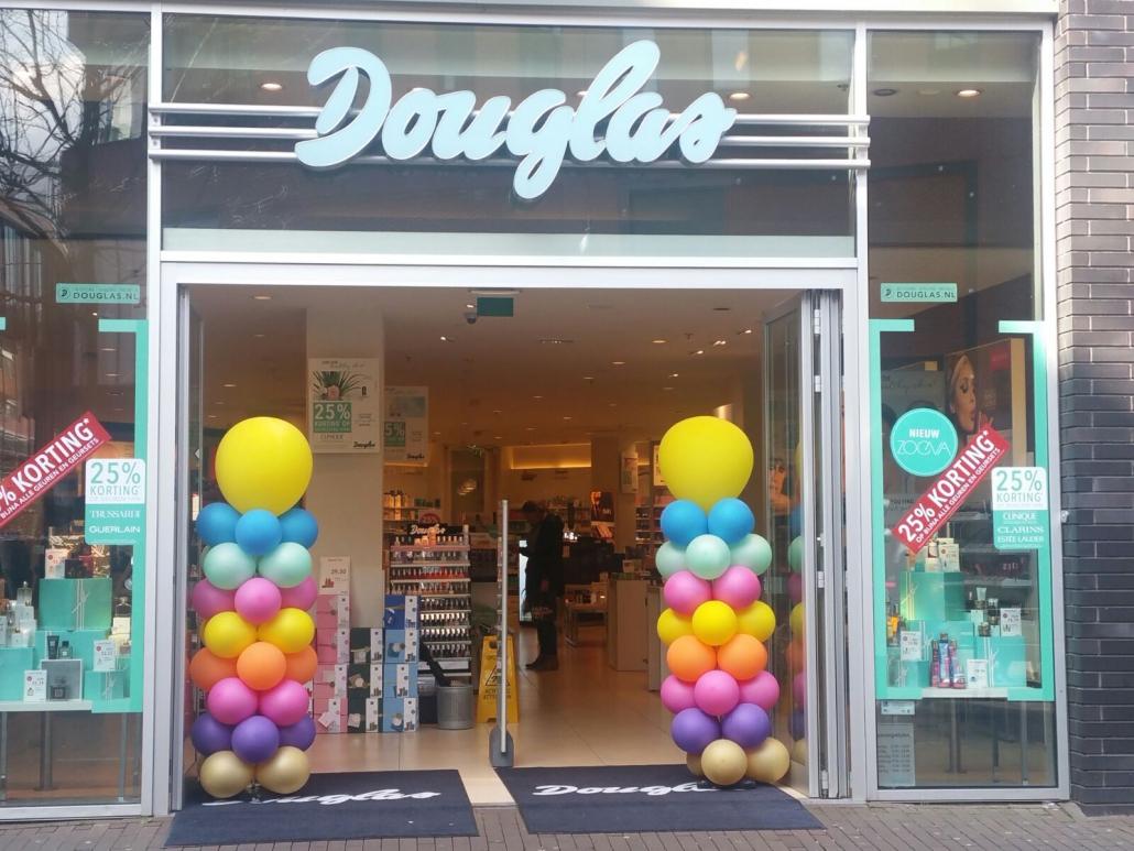 Ballonpilaar Douglas Gekleurd Gele Topballon